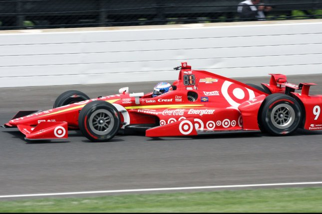 Scott Dixon 2008 Indy 500 winner exits the third turn during practice for the 100th running of the Indianapolis 500 at the Indianapolis Motor Speedway on May 16, 2016 in Indianapolis, Indiana. Dixon was 5th quick at 226.835 MPH. Photo by Bill Coons/UPI