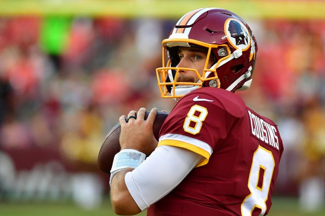 Washington Redskins quarterback Kirk Cousins throws in warm-ups before the Redskins pre-season game against the Green Bay Packers at FedEx Field in Landover, Maryland on August 19, 2017. File photo by Kevin Dietsch/UPI