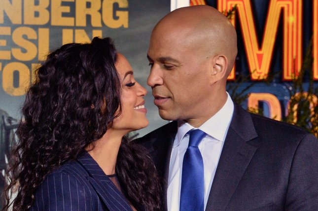 Rosario Dawson (L) and Cory Booker attend the Los Angeles premiere of Zombieland: Double Tap on Thursday. Photo by Jim Ruymen/UPI