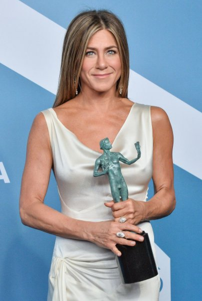 Jennifer Aniston appears backstage with the award for Outstanding Performance by a Female Actor in a Drama Series for The Morning Show during the 26th annual SAG Awards held at the Shrine Auditorium in Los Angeles on Sunday. Photo by Jim Ruymen/UPI.