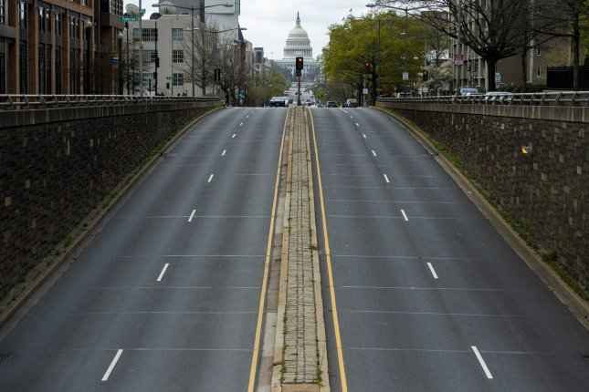 North Capitol Street leading to the U.S. Capitol is seen nearly empty on April 1 due to shelter-in-place requirements in Washington, D.C. Photo by Kevin Dietsch/UPI