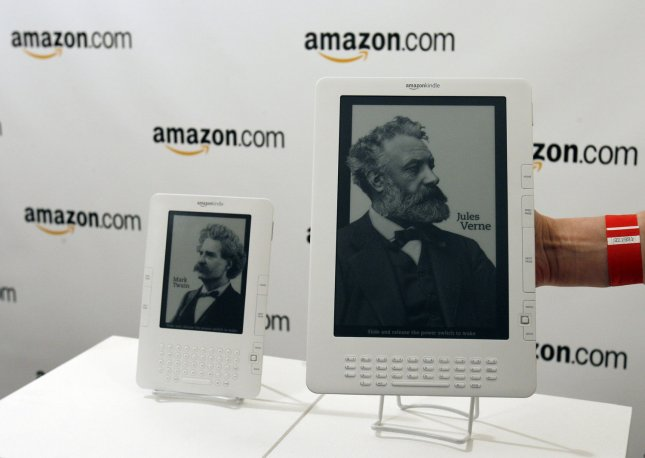 The new Kindle DX is on display for the media after Amazon CEO Jeff Bezos speaks at a press conference announcing the release of the Kindle DX at Pace University in New York City on May 6, 2009. (UPI Photo/John Angelillo)