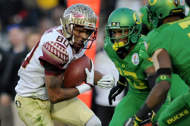 Florida State Seminoles receiver Rashad Greene (80) runs after a reception against the Oregon Ducks during the third quarter at the College Football Playoff Semifinal of the Rose Bowl in Pasadena, California on January 1, 2015. Juan Ocampo/UPI