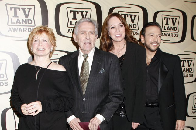 The cast of One Day at a Time -- left to right, Bonnie Franklin, Pat Harrington Jr., Mackenzie Phillips and Glenn Scarpelli -- in New York on April 14, 2012. File Photo by Laura Cavanaugh/UPI