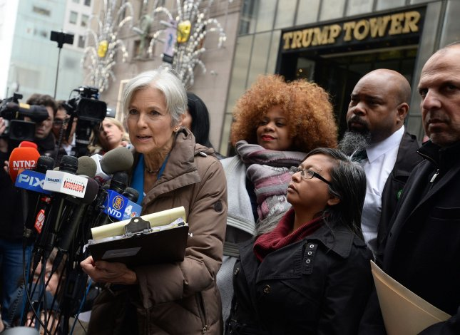 A Michigan judge lifted a restraining order preventing officials from stopping a recount of presidential votes in the state, stopping the recount requested by Green Party presidential candidate Jill Stein, pictured speaking to reporters in front of Trump Tower in New York on Monday. File photo by Dennis Van Tine/UPI