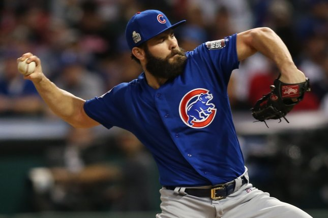 Chicago Cubs starting pitcher Jake Arrieta throws a pitch. File photo by Aaron Josefczyk/UPI