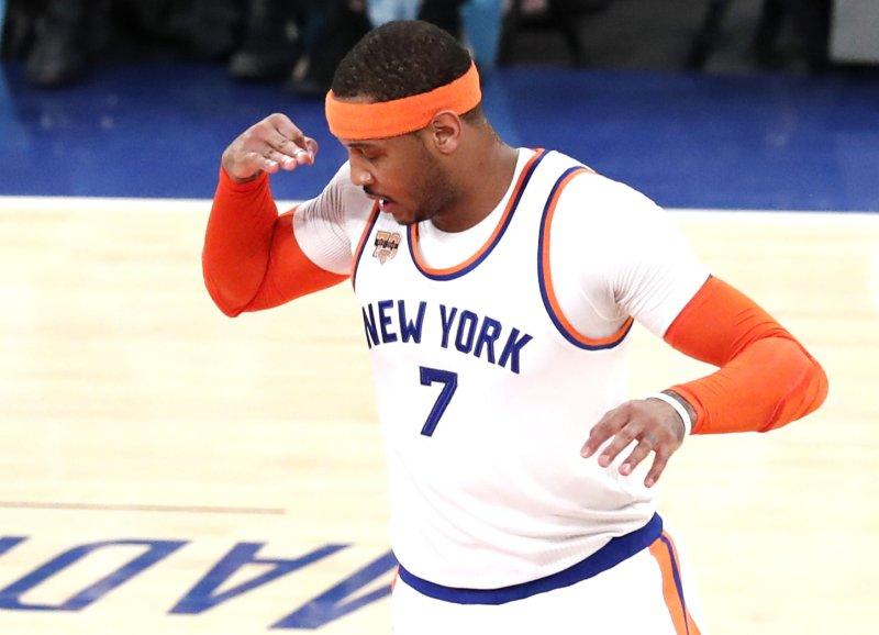 Carmelo Anthony was traded from the New York Knicks to the Oklahoma City Thunder last week. Photo by John Angelillo/UPI