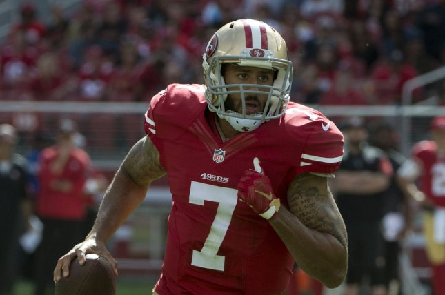 Former San Francisco 49ers quarterback Colin Kaepernick had a 40-minute workout in front of eight NFL teams on Saturday. File Photo by Terry Schmitt/UPI