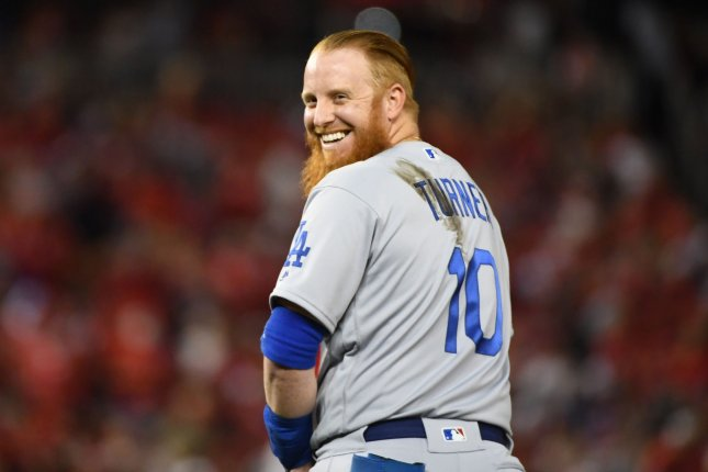 Los Angeles Dodgers third baseman Justin Turner has a $20 million salary in 2020. File Photo by Kevin Dietsch/UPI