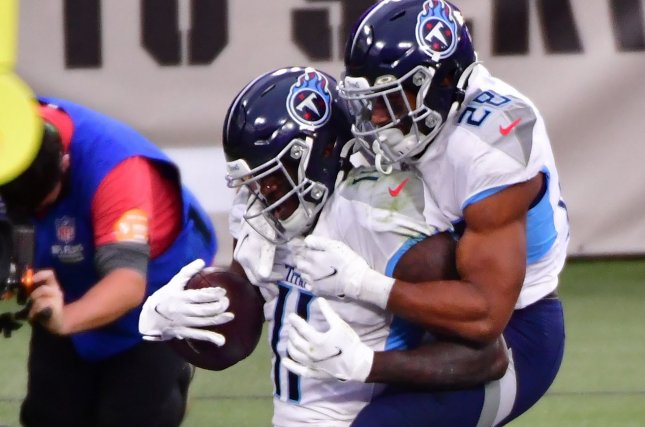 Tennessee Titans wide receiver A.J. Brown (L) played through knee and ankle injuries in 2020 to make his first Pro Bowl. File Photo by David Tulis/UPI