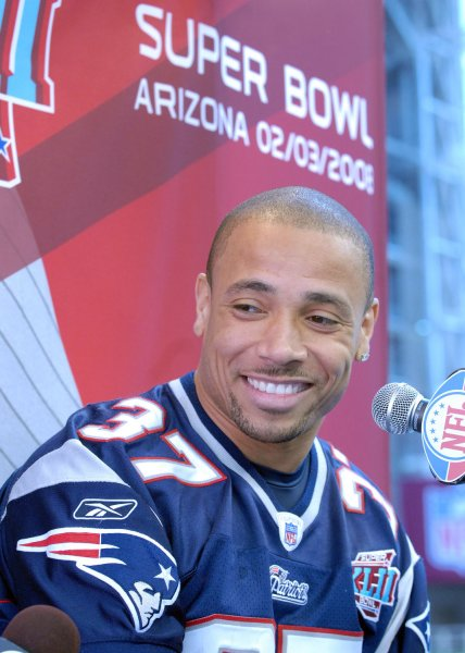 New England Patriots safety Rodney Harrison, shown during media day prior to Super Bowl XLII, suffered a leg injury in Monday night's game and could be out for the rest of the season. (UPI Photo/Roger L. Wollenberg)