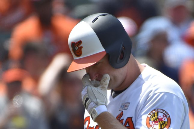 Baltimore Orioles outfielder Mark Trumbo misjudged a fly ball, but recovered with a home run Sunday in the Orioles' win against the Houston Astros at Oriole Park at Camden Yards in Baltimore, Md. Photo by David Tulis/UPI