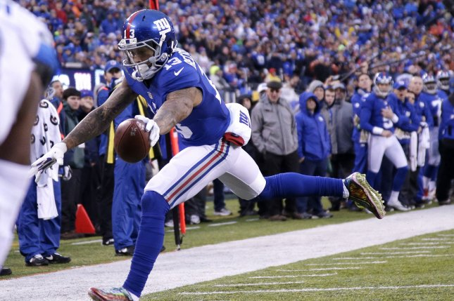 New York Giants wide receiver Odell Beckham Jr. voiced his displeasure for ESPN's fantasy football auction draft segment Tuesday. File Photo by John Angelillo/UPI