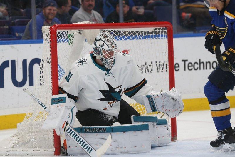 Martin Jones and the San Jose Sharks take on the Winnipeg Jets on Thursday. Photo by Bill Greenblatt/UPI