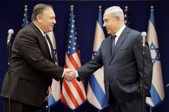 U. S. Secretary of State Mike Pompeo (L) will meet with Israeli Benjamin Netanyahu in Israel on Wednesday. File Photo by Sebastian Scheiner/UPI