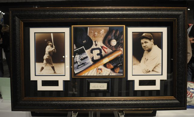 Babe Ruth was one of the first inductees into baseball's Hall of Fame Jan. 29, 1936. The slugger is shown here in a set of framed photos at an auction Feb. 2, 2008. UPI/Roger L. Wollenberg/File