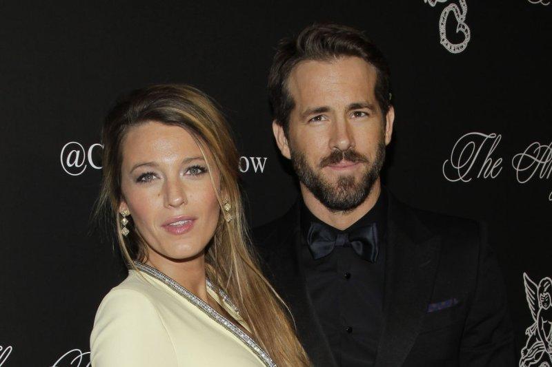 Blake Lively (L) shared a shirtless photo of husband Ryan Reynolds on Instagram. File photo by John Angelillo/UPI