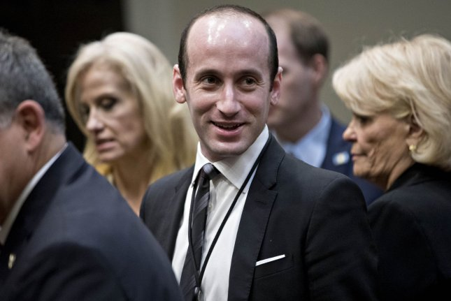 Stephen Miller, policy adviser to President Donald Trump, said Sunday the administration is weighing options to reinstate the travel ban that was halted by a federal judge. Pool photo by Andrew Harrer/UPI