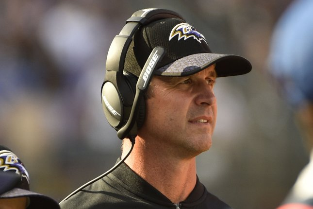 Baltimore Ravens head coach John Harbaugh during the second half of an NFL game at M&T Bank Stadium in Baltimore, Maryland, October 15, 2017. File photo by David Tulis/UPI