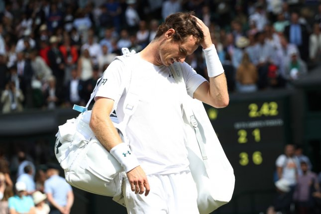 Great Britain's Andy Murray looks disappointed after losing to American Sam Querrey in the men's quarterfinals at The Champions, Wimbledon 2017 on July 12 in London. File photo by Hugo Philpott/UPI