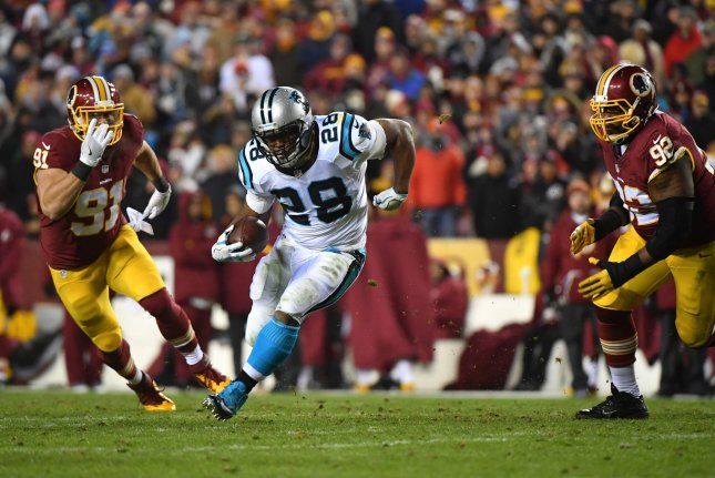 Former Carolina Panthers running back Jonathan Stewart (28) runs against the Washington Redskins in the first quarter on December 19, 2016 at FedEx Field in Landover, Maryland. File photo by Kevin Dietsch/UPI