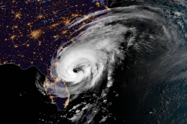 Hurricane Dorian is captured by NOAA's GOES-East satellite at 7:10 a.m. EST on September 4, 2019, approximately 90 miles east of Daytona Beach, Florida. File Photo by NASA/UPI
