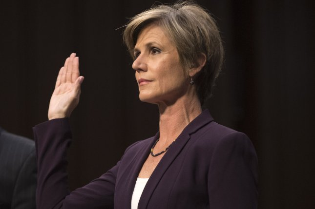 Former Acting Attorney General Sally Yates is sworn in at a Senate judiciary subcommittee hearing on the Russia investigation, on Capitol Hill in Washington, D.C., on May 8, 2017. Yates appeared to provide more testimony Wednesday. File Photo by Kevin Dietsch/UPI