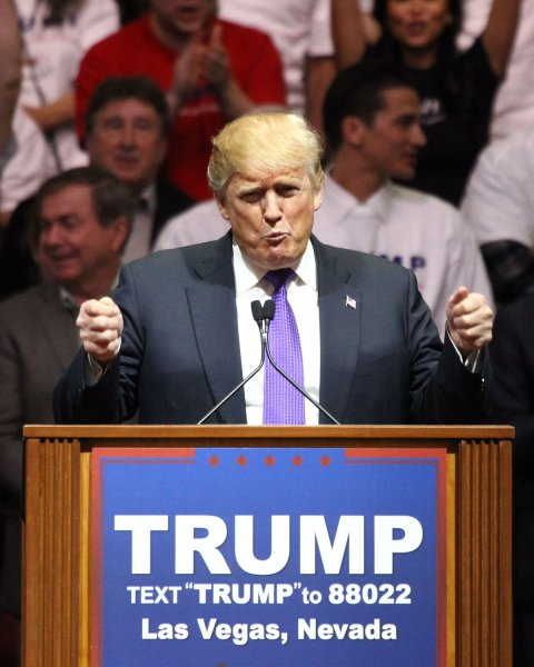 Republican presidential candidate Donald Trump took his third consecutive victory with an easy win over Senators Marco Rubio and Ted Cruz in the Nevada caucus Tuesday night. Photo by James Atoa/UPI