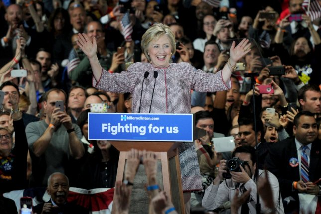 Democratic presidential front-runner Hillary Clinton speaks at a rally in New York City on Tuesday. A group supporting her campaign says it will spend $1 million to create a real-time online task force to counter attacks against Clinton online. Photo by Dennis Van Tine/UPI