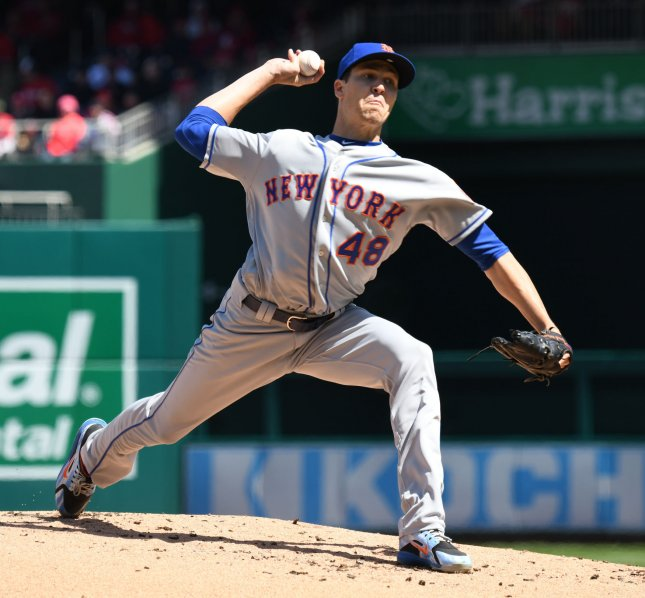 Jacob deGrom and the New York Mets take on the Philadelphia Phillies on Sunday. Photo by Pat Benic/UPI