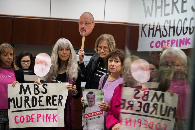 Members of the activist group Code Pink occupy the office of Sen. Jack Reed, D-R.I., as they protest U.S. arms sales to Saudi Arabia and the the U.S. involvement in the Saudi-led war in Yemen on Capitol Hill in Washington, D.C., on October 22. On Thursday, the Senate voted to end support in the war. File Photo by Kevin Dietsch/UPI
