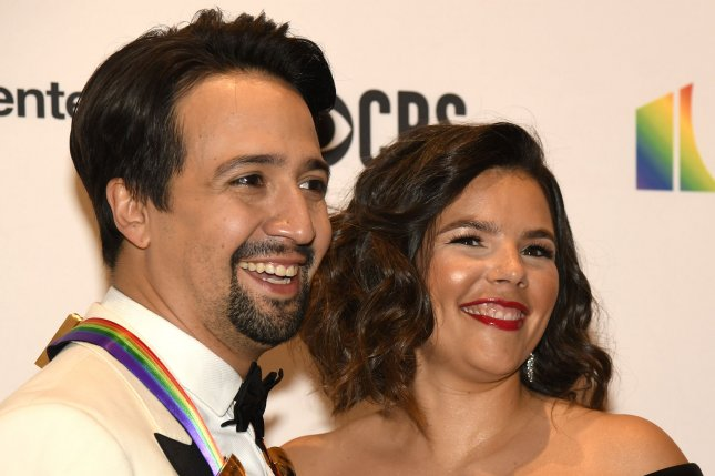 Lin-Manuel Miranda (L), pictured with Vanessa Nadal, performed with Jimmy Fallon on Tuesday's episode of The Tonight Show. File Photo by Mike Theiler/UPI