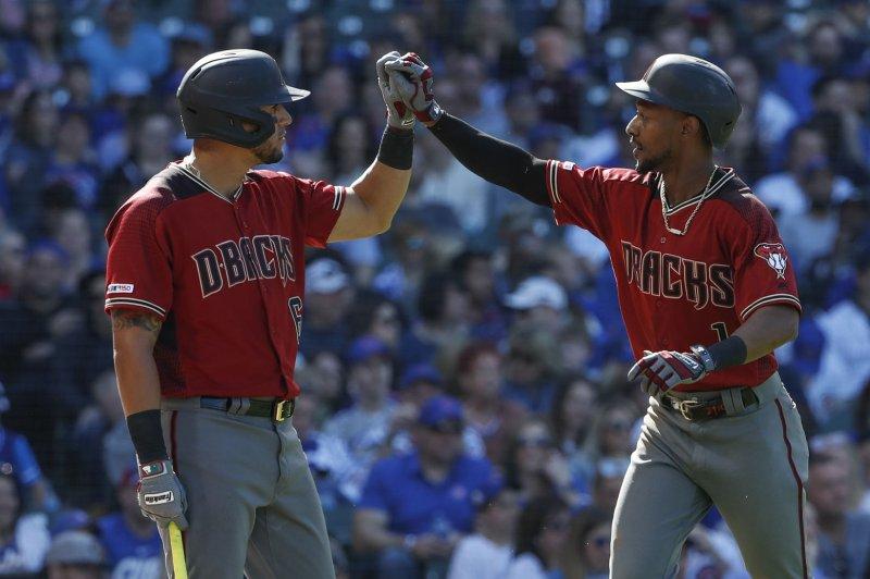 Arizona Diamondbacks outfielders David Peralta (L) and Jarrod Dyson both homered in Monday's 13-6 victory over the Phillies. File Photo by Kamil Krzaczynski/UPI