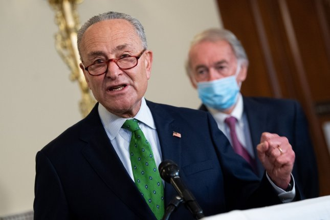Senate Democratic leader Charles Schumer of New York speaks to reporters Thursday on Capitol Hill in Washington, D.C. He said Republicans tried to jam through a coronavirus relief bill that doesn't provide nearly enough aid.Photo by Kevin Dietsch/UPI
