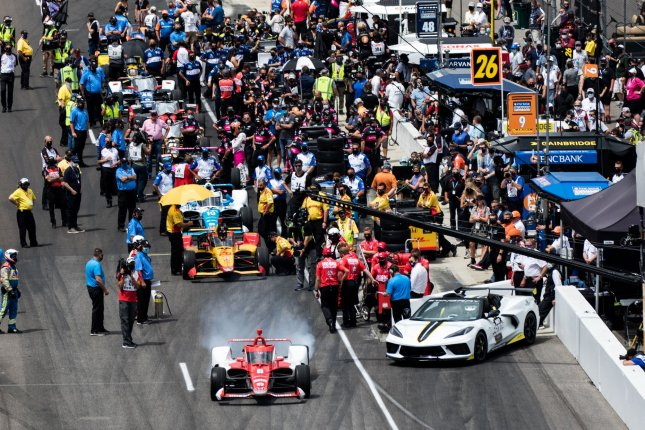 Marcus Ericsson heads out for qualifications for the 2021 Indianapolis 500 last Sunday in Indianapolis. Photo by Edwin Locke/UPI