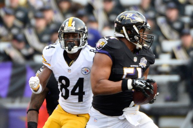 36e5099572a1 Baltimore Ravens linebacker Daryl Smith (51) intercepts the pass intended  for Pittsburgh Steelers  Antonio Brown (84) during the first half of their  NFL ...