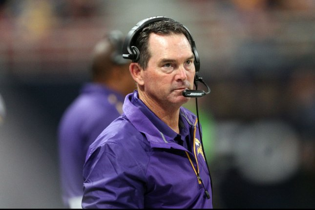 Minnesota Vikings head football coach Mike Zimmer. UPI/Bill Greenblatt