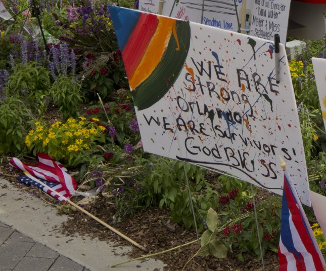 A sign at the memorial in remembrance of the victims of the Pulse nightclub massacre in Orlando, Fla. File Photo by Gary I Rothstein/UPI