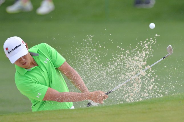 James Hahn hits out of a bunker on the 2nd hole in the second round of the Masters Tournament at Augusta National Golf Club in Augusta, Georgia. File photo by Kevin Dietsch/UPI