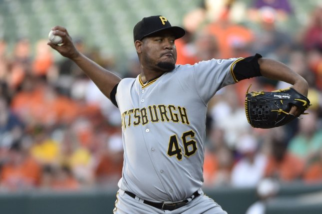 Pittsburgh Pirates starting pitcher Ivan Nova delivers a pitch. File photo by David Tulis/UPI