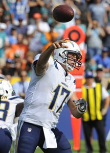 Philip Rivers and the Los Angeles Chargers square off with the division-rival Denver Broncos on Sunday. Photo by Lori Shepler/UPI
