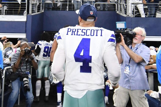 Dallas Cowboys quarterback Dak Prescott is one of several players negotiating a new contract with the franchise this off-season. File Photo by Ian Halperin/UPI