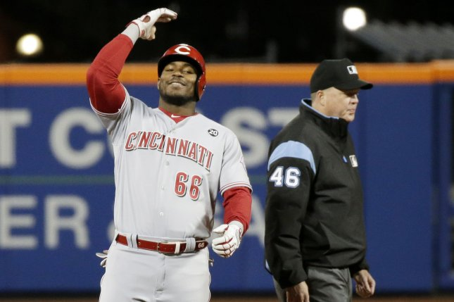 Yasiel Puig had one of the best defensive plays of the game, but went 0-for-3 at the plate during the Cincinnati Reds' loss to the Los Angeles Dodgers on Sunday in Cincinnati. File Photo by John Angelillo/UPI