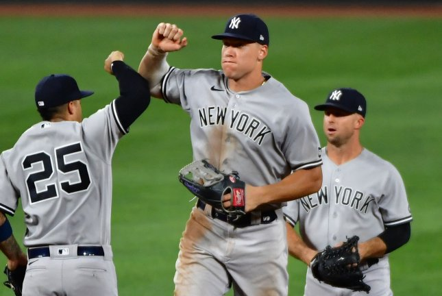 New York Yankees outfielder Aaron Judge (C) has been out since Aug. 26 because of a calf injury. File Photo by David Tulis/UPI