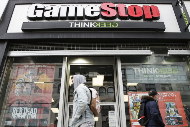 A GameStop retail location is seen in New York City on January 27. File Photo by John Angelillo/UPI