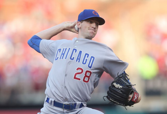 Kyle Hendricks and the Chicago Cubs take on the Washington Nationals on Friday. Photo by Bill Greenblatt/UPI