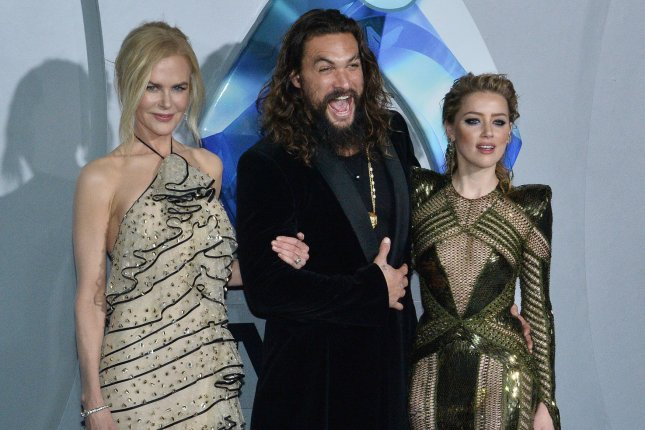 Cast members Nicole Kidman, Jason Momoa and Amber Heard (L-R) attend the premiere of Aquaman in Los Angeles on December 12. The superhero movie has been No. 1 at the North American box office for three weekends. File Photo by Jim Ruymen/UPI
