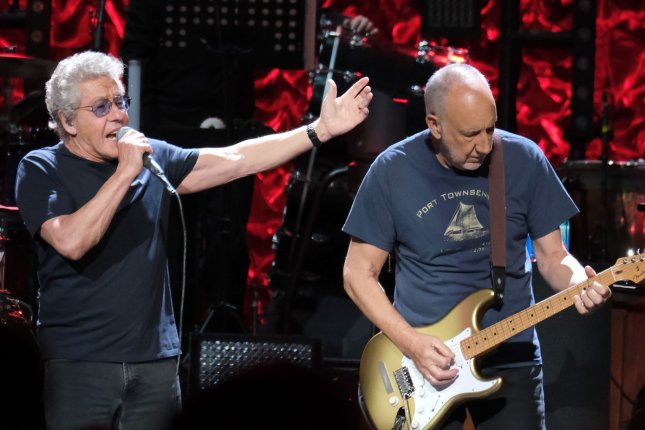 Roger Daltrey (L) and Pete Townshend of The Who. The band has announced concert dates for 2020. File Photo By Gary I Rothstein/UPI