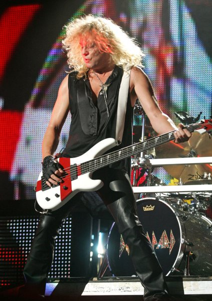 Rick Savage with Def Leppard performs in concert at the Cruzan Amphitheatre in West Palm Beach, Florida on August 13, 2009. UPI/Michael Bush