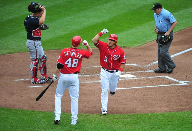 Washington Nationals' Wilson Ramos celebrates with Ross Detwiler after hitting a solo homerun against the Atlanta Braves during the fourth inning at National Park in Washington on September 25, 2011. UPI/Kevin Dietsch